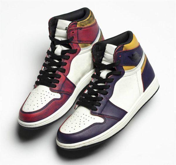 New Authentic Air High 1 OG Defiant SB Court Purple Basketball Shoes Lakers Light Bone Black GOLD Retro Men Sports Sneakers CD025