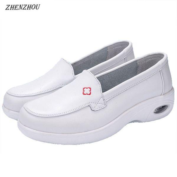 Designer Dress Shoes ZHENZHOU 2019 autumn Nurse's Hollow out design Casual white wedge heels breathable anti-skid air cushion pregnant