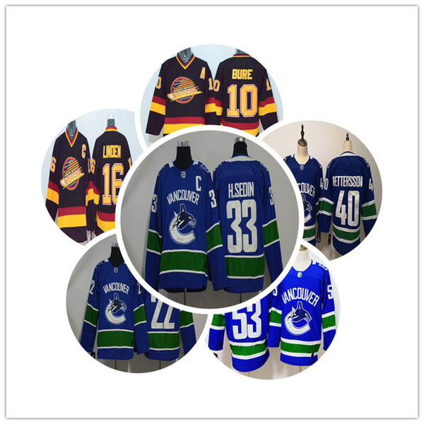 tr Vancouver Canucks Buz Hokeyi Formaları Ucuz 10 Pavel Bure 16 Linden 40 Pettersson 33 Hsedin 22 Osedin Vintage Otantik Dikişli Formalar