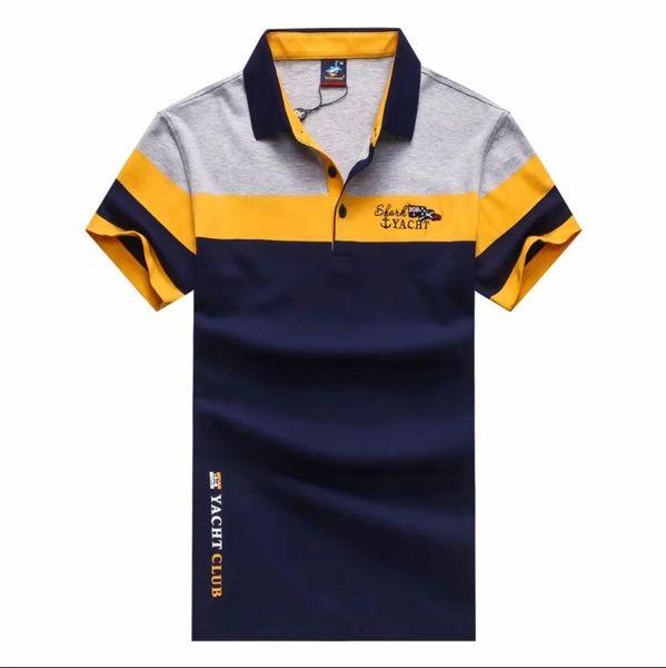 Maglietta da bavero da uomo nuova Maglietta da uomo traspirante con bottoni estivi traspirante Maglietta da uomo a maniche corte a righe sottili 01