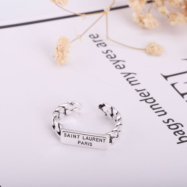 France 19ss Y L Logo Women's Silver Ring No Box Fashion Women Adjustable Rings Hip Hop Men's Finger Ring