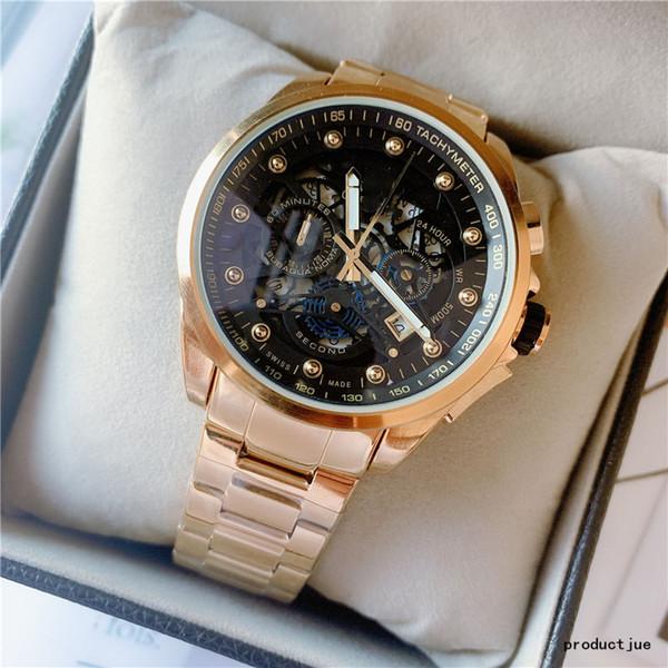 relógio cronógrafo de quartzo de moda designer de movimento 49mm dos homens por atacado mostrador do relógio em aço inoxidável