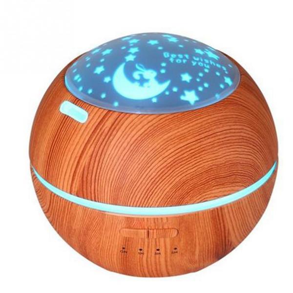 Aroma Creative Huile Essentielle Diffuseur d'air ultrasonique Humidificateur avec grain de bois clair ombre lumières LED arôme électrique