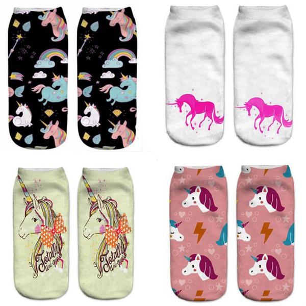 Harajuku 3D Print Einhorn Print Socken Frauen Kawaii Knöchel Licorne Chaussette Femme Calcetines Mujer Cute Art Socken