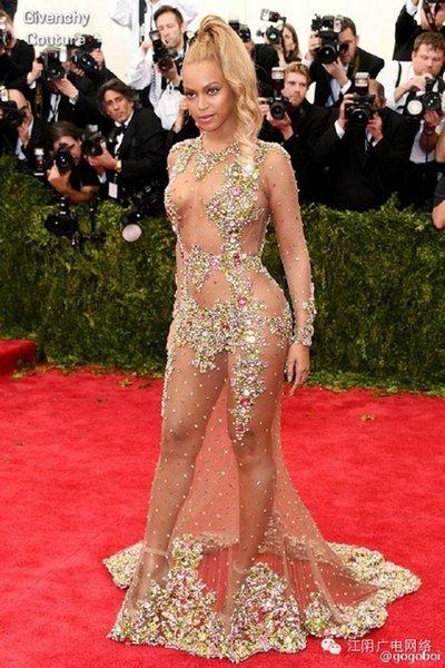 Sheer Beaded Vestidos de noche Beyonce Met Ball Alfombra roja Naked Celebrity Vestidos de baile Vestir Formal Sweep Tren sin espalda
