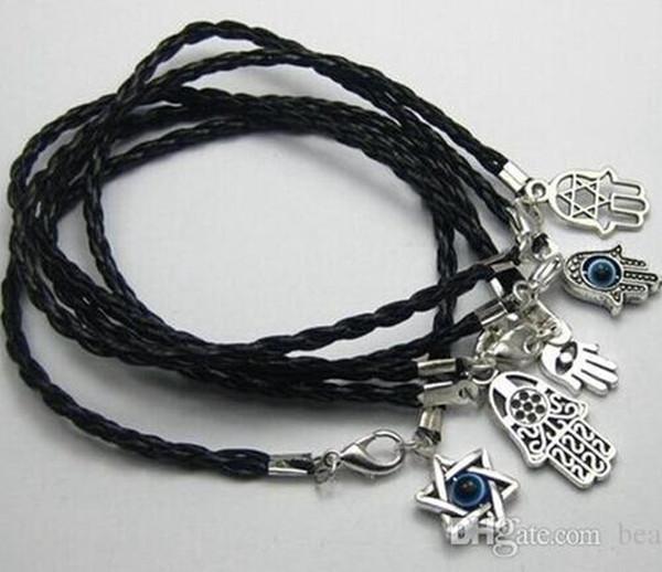 top popular Hot ! 100Pcs Mixed Kabbalah Hamsa Hand Charms Black Leather Braided String Bracelets 15cm -21cm Men and women lucky bracelet 2019