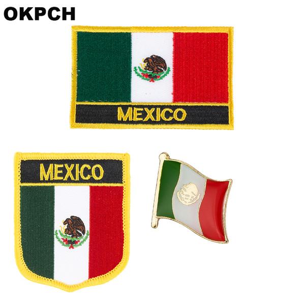 Mexiko-Flaggenfleckenabzeichen 3pcs ein Satz bessert für Dekoration PT0134-3 der Kleidungs-DIY aus