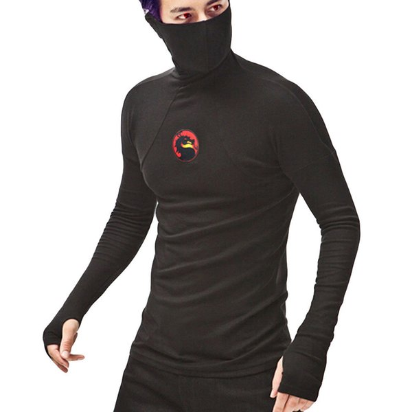 good quality Mask Men T-shirt Casual Mens Clothing Mask Splicing Dragon Long Sleeve Hooded Sweatshirt Tops Streetwear Shirt Male N19
