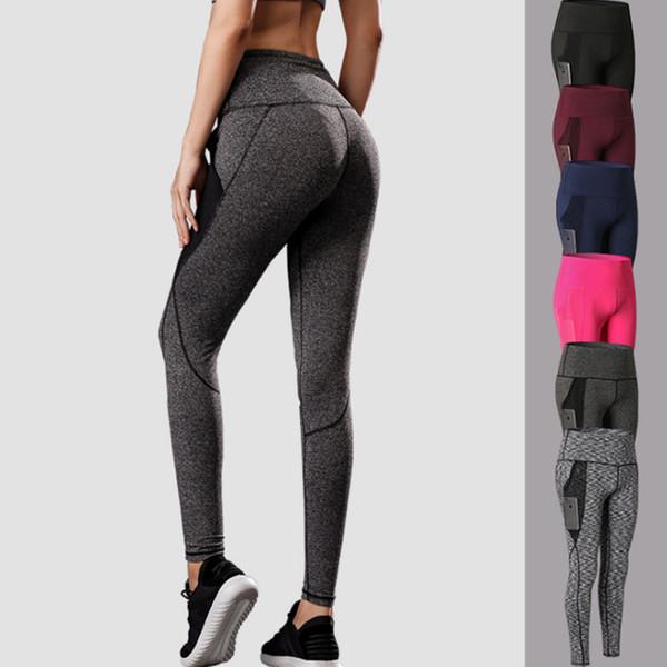 YHigh Taille Femmes Solide Couleur taille haute Sport Gym Fitness Porter Leggings élastique Lady Total plein Collants de sport Fitness Porter pour Yoga