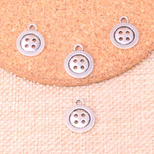 109pcs Antique Silver Plated double sided button Charms Pendants fit Making Bracelet Necklace Jewelry Findings Jewelry Diy Craft 13mm