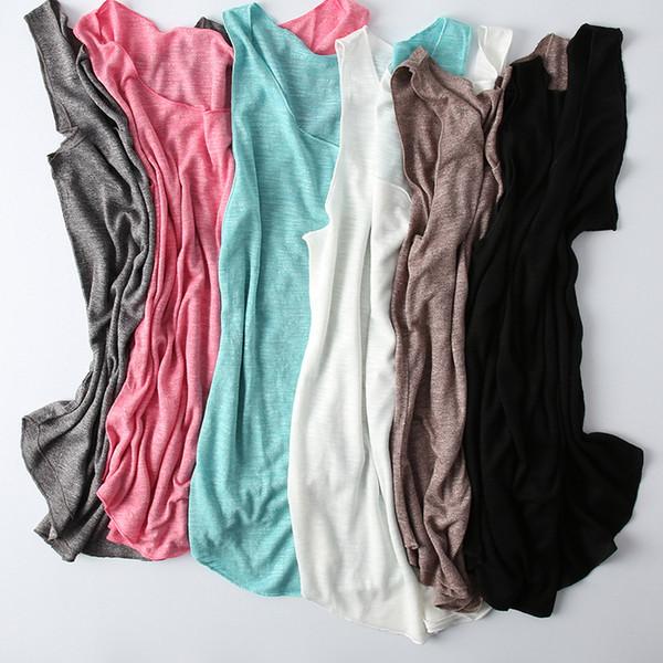 Camiseta básica de algodón 100% Top sin mangas casual de verano de 2019 Negro Verde Blanco Rojo Azul Camisetas interiores Camisa de fondo de alta calidad