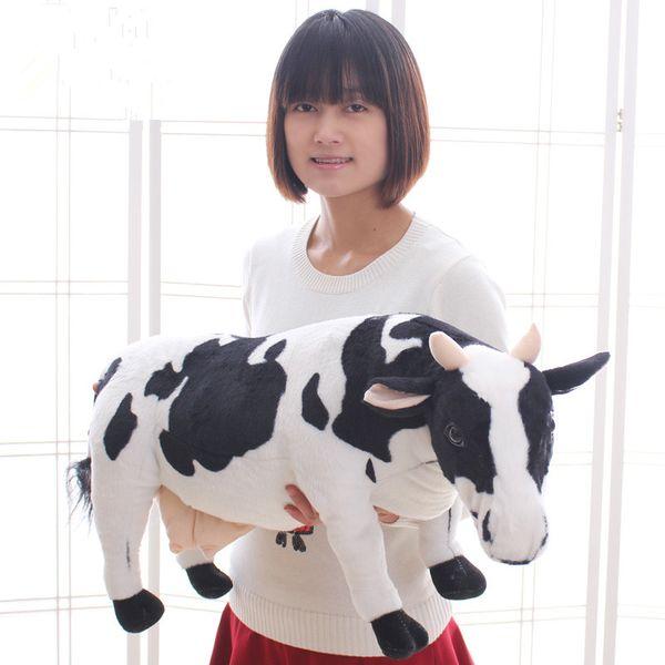 Belle Simulation Animaux Lait Vache En Peluche Jouet Grand Doux Peluche De Vache Poupée Beau Cadeau Décoration 28 pouces 70 cm DY60982