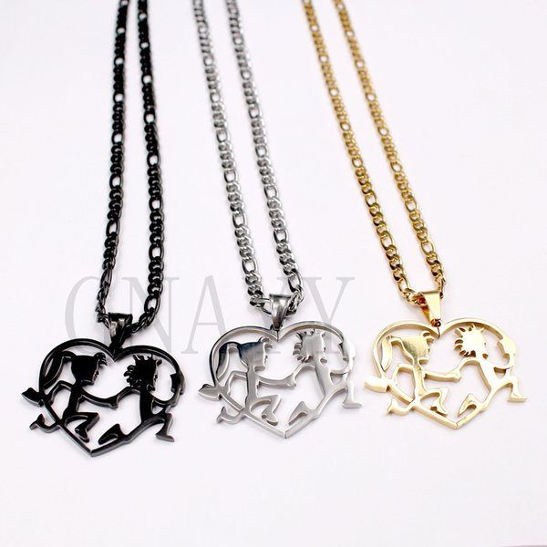 Hatchetman Twiztid ICP Juggalo Juggalette Heart silver/black/golden pendant necklace charm figaro chain 4mm 24inch christmas gift