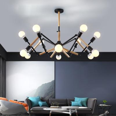 2019 Spider Pendant Lights, Industrial Hanging Modern Lamp Light Adjustable  Nordic Retro Living Room Loft Kitchen Wood Lamp Globe Pendant Light Light  ...