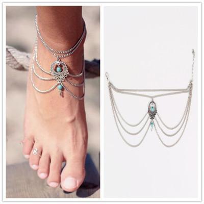 Boho Ethnic Turquoise Beads Barefoot Sandal Anklet Chic Multilayer Tassel Foot Chain Anklet Bracelet Body Jewelry For Women 425