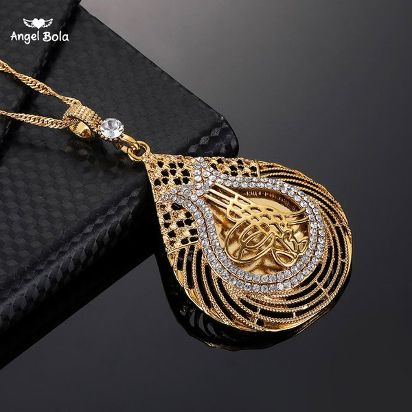Muslim New Turkey Islam Münze Halskette für Frauen Geschenke Gold Farbe Arabische Münzen Schmuck Großhandel Türke Anhänger Mit Kristall