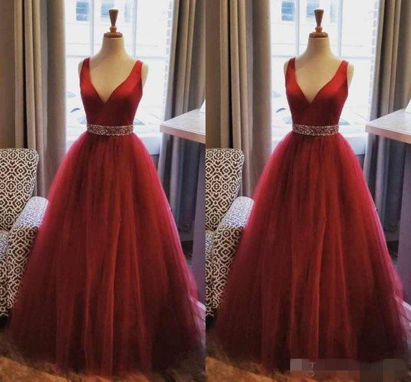 Elegant Dark Red Prom Dresses V Neck Beaded Waist Floor Length Plus Size  2019 Tulle Custom Made Formal Evening Gown Party Wear Gigi Prom Dresses  Make ...