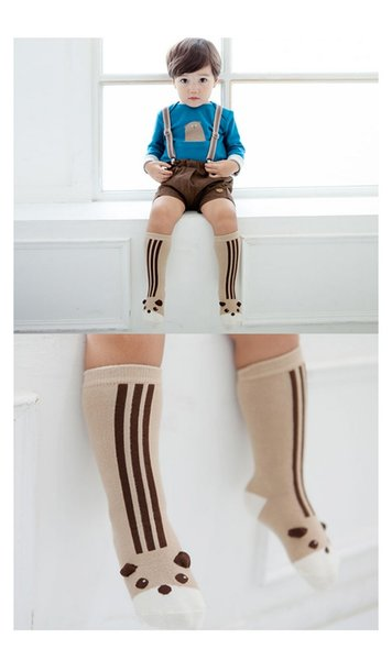 New Cotton 3D Cartoon Girls boys Baby Socks Baby Booties Children Knit Knee High Socks stripe animal Infant Sock Toddler Best Socks A658