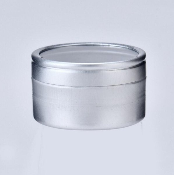 10g Empty cosmetic sample aluminum cream container with window screw lid, small lipstick can lip balm jars