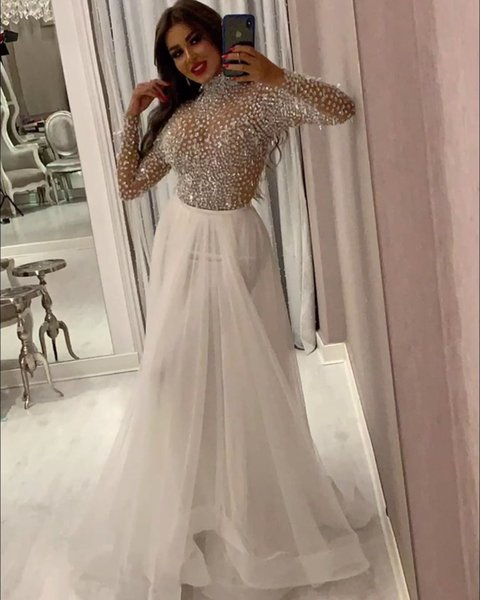 Luxury Sparkly Dubai Long Sleeve Prom Dress High Neck Beaded Formal Evening Dresses Plus Size Party Gala Gowns With Detachable Train
