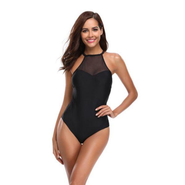 Black Mesh One Piece Sexy Bikini Set Little Fresh Ladies Swimsuit Cover Belly Slim Swimming Suit Female