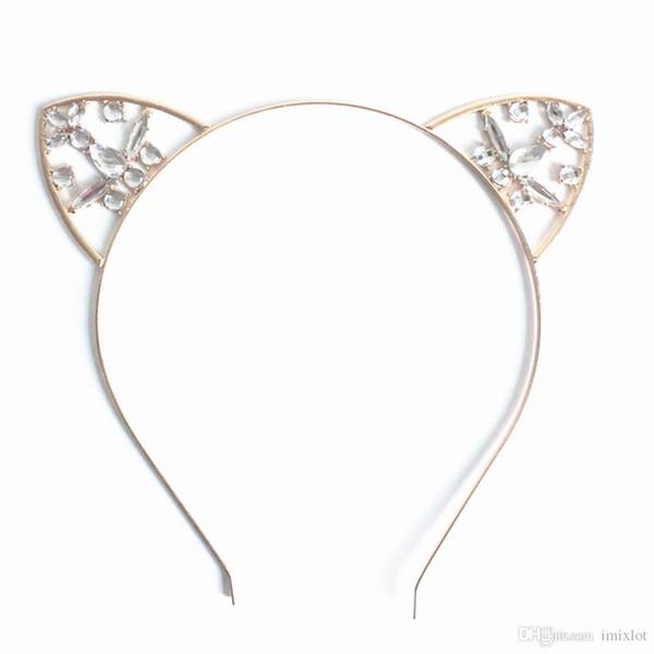 3pcs / lot delle nuove donne dei capelli del cerchio del cerchio di cristallo di scintillio del metallo del rhinestone dell'orecchio del gatto della fascia del Hairband del costume Accessori per capelli della fascia del partito