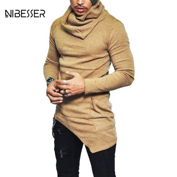 NIBESSER Thin Irregular Design Top Male Sweater Men's High-necked Sweaters Solid Mens Casual Sweater Pullover Sweaters Mens