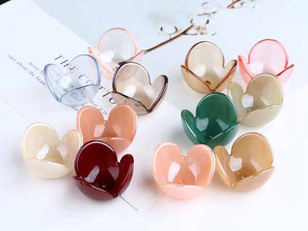 Min ordem 30 pçs / lote impressão a cores dos desenhos animados 3D flores forma contas de Resina diy jóias brincos / pulseira / vestuário pingente acessório