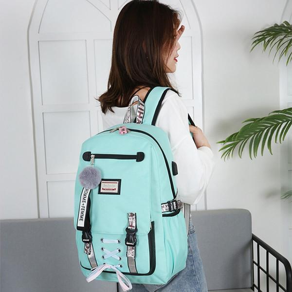 WENYUJH 2019 nuovi grandi sacchetti di scuola per le donne adolescenti Borsa per libri Usb con blocco Antifurto Zaino Scuola per il tempo libero dei giovani Mochila