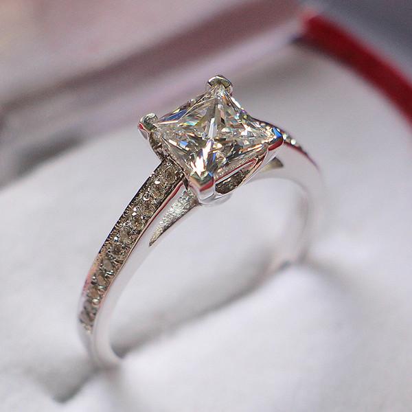 1CT Princess Cut Синтетический Алмазный Годовщина Свадьбы Кольцо Удивительное Качество Подлинная Твердого Стерлингового Серебра Кольцо Белое Золото Отделка