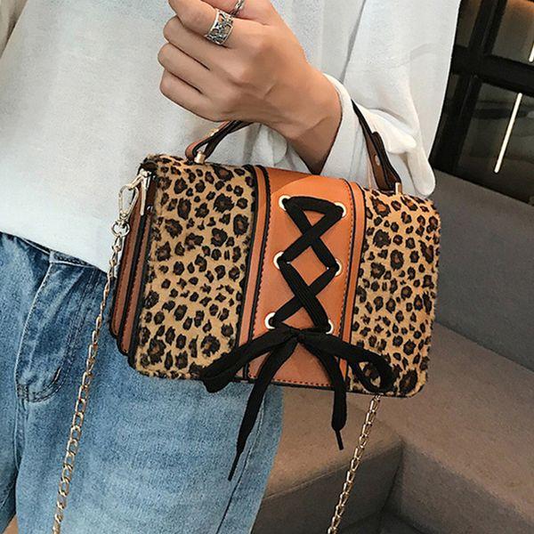 Cadenas de invierno Plush Leopard Estampado de cebra Bolsos de las mujeres Bow-not Bolsas de mensajero de hombro solapa pequeña 2019 Pu Sac Bolsa Chic
