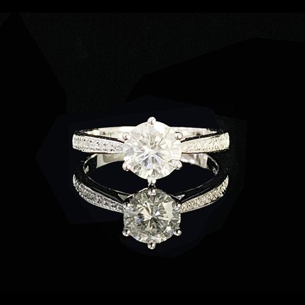 9 Karat Weißgold Ring 1 ct 2 ct 3 ct Moissanite einreihige Diamantring Runde Brilliant Cut Engagement Jubiläum
