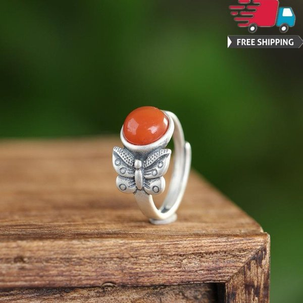 Hot Pure Sterling Rings 925 Manual Silver Natural South Red Agate Butterfly Fly Hatch Ring Nation Wind Temperament Grace