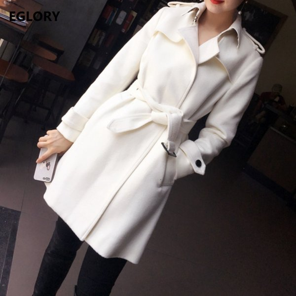 Nova 2017 Moda Longo Inverno Casacos Mulheres Collar Vire-down Botão Coberto quente de lã grossa Cashmere longo branco Senhora Outwear Casacos