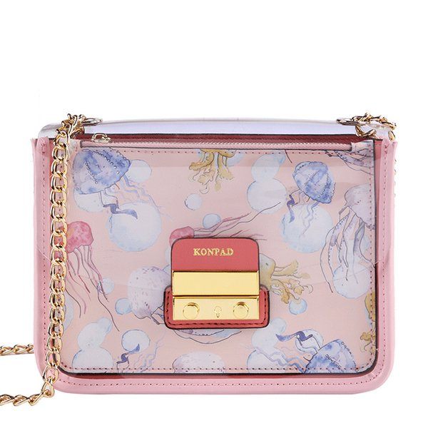 Pink Sugao shoulder crossbody bag fashion transparent jelly chain messenger bag luxury designer set for coin purse 2pcs/suit new style