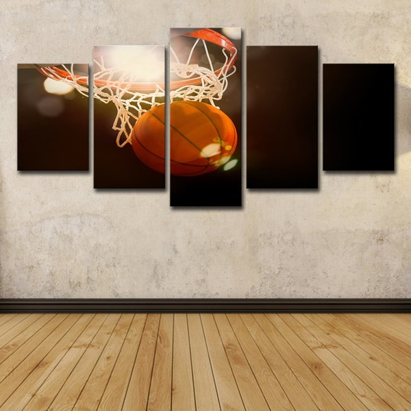 HD Printed 5 Piece Canvas Art Basketball Circle Oil Painting Poster Ball Game Wall Pictures for Living Room Modern Free Shipping