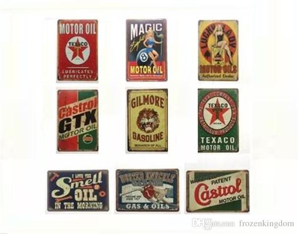 Spedizione gratuita Oli motore Garage Castrol Gilmore Benzina Vintage segno decorativo retrò in metallo Poster Tin Sign