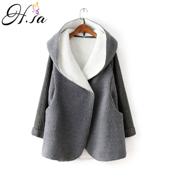 H.sa 2018 Women Winter Long Jacket Thick Warm Cashmere Hooded Cardigans Sweater Poncho Knit Coat Cotton Liner Sweater Jumpers Y190823