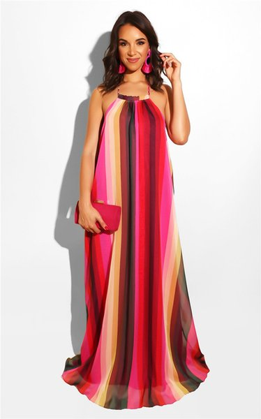 Womens Halter Maxi Dresses Rose 3D Digital Print Sleeveless Dress Red Striped Sexy Beach Party Dresses