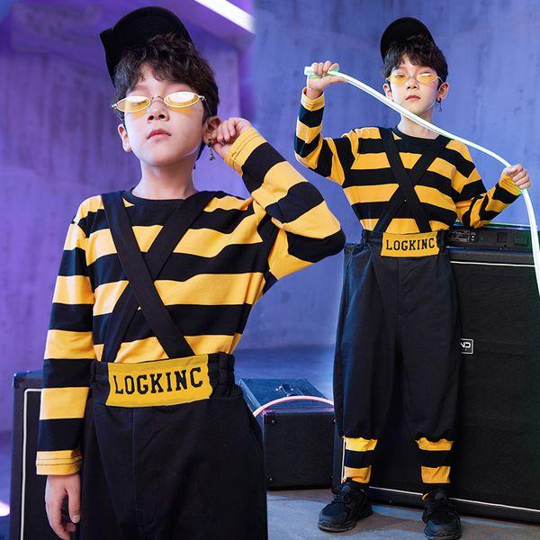 Hip Hop Kids Yellow Striped Manga Larga Bib Pantalones Jazz Traje Street Dance Ropa Niños Escenario Show Dancewear DN2769