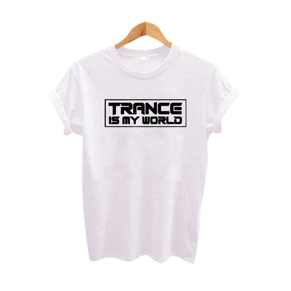 2018 New Trance Is My World Ulzzang Harajuku T-Shirt Nero Bianco Donna T Shirt Streetwear T-Shirt in cotone Donna Camiseta