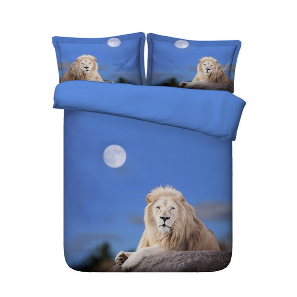 3D Bedding Sets Brown Lion Boys Girls 3 Pieces Duvet Cover Set Comforter Quilt Bedding Cover With Zipper Closure Wildlife Tiger Leopard Bed