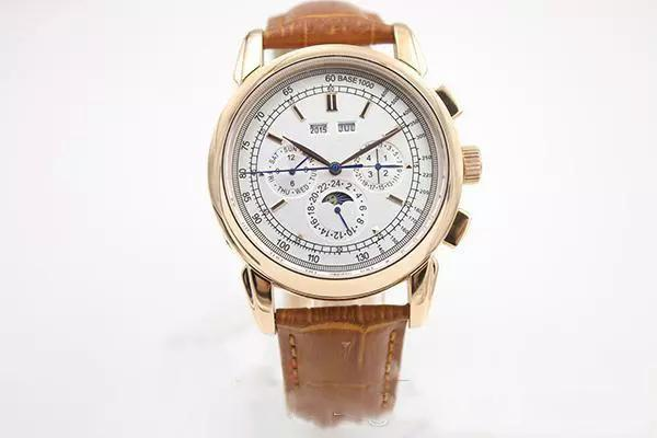 Hot seller Super Complicated Automatic Watch Rose Gold Case And Skeleton Analog Sky Moon Glass Back Brown Leather Belt Mechanical Casual Wat