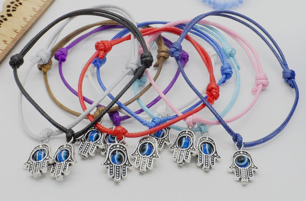 2019 Hot Sale NEW Hamsa Hand Charms String Evil Eye Lucky Red wax Cord Adjustable Bracelet Unisex Children Gift Women Multicolor Available