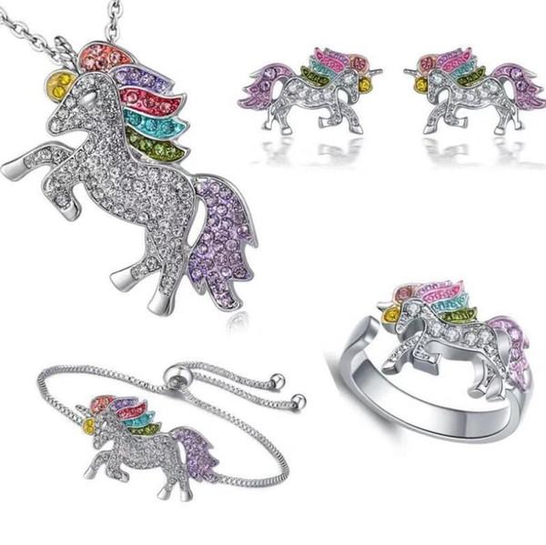 4pcs / lot Unicorn braccialetto della collana della vite prigioniera orecchino ad anello dei monili di 925 diamanti colorati Pony Pendenti Accessori Commercio all'ingrosso