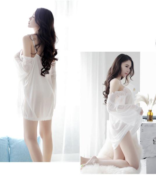 24d0f3a88d2 Оптовая продажа-женская пижамы + t брюки устанавливает горячие кружева  белый свадебный халат белье мечты свадебные пижамы ночная рубашка сорочка