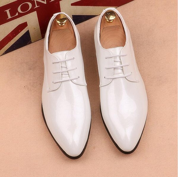 British hair stylist pointed dress shoes men's patent leather summer Korean version of the tide business casual men's shoes