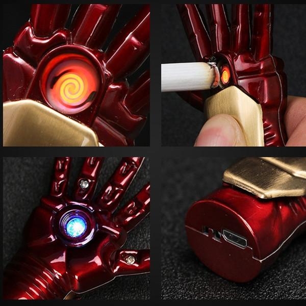 Iron Man Main USB Cigarette Électronique avec Lumineux Led Light Key Chain Sans Flamme Plasma Arc Briquet Cadeaux Pour Hommes