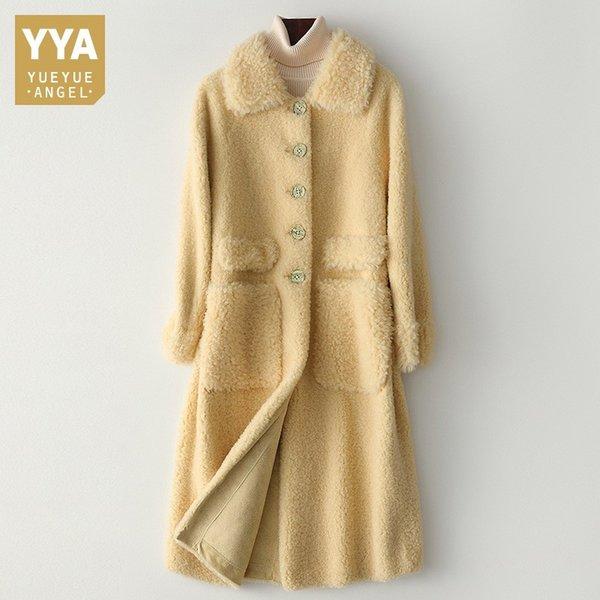 Sheep Fashion cisaillage Outwear chaud épais manteaux de fourrure Femmes unique poitrine revers poches longueur moyenne Femlae Vestes décontractées