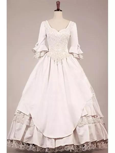 Hippie VICTORIAN VESTIDO de CASAMENTO 2019 novo estilo Vintage 3/4 mangas compridas Vestidos de Casamento vestido de baile Lace Nupcial Vestidos de Baile Vestidos